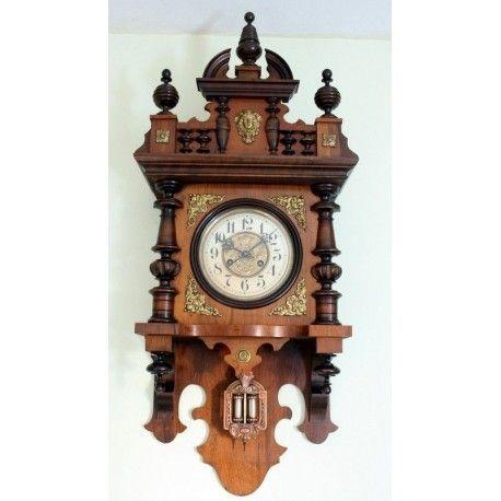 Antiguo Reloj de Pared Alfonsino de la casa Junghans funcionando finales de los años 1900