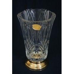 Elegante jarrón, de cristal de Val Saint Lambert con sello de autenticidad