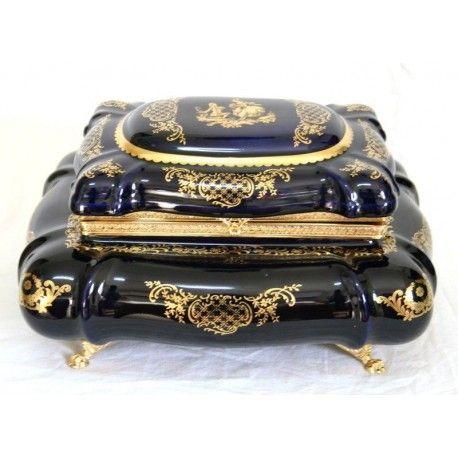 Elegante caja joyero de porcelana francesa Limoge.