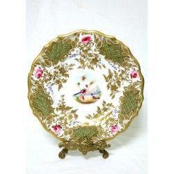 Elegante plato, pintado a mano, de porcelana inglesa