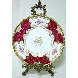 Elegante plato, pintado a mano, de porcelana inglesa Covalport
