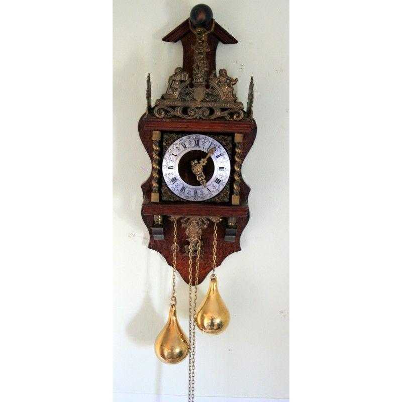 Antiguo reloj de pared holandes con pesas y funcionando - Relojes de pared clasicos ...