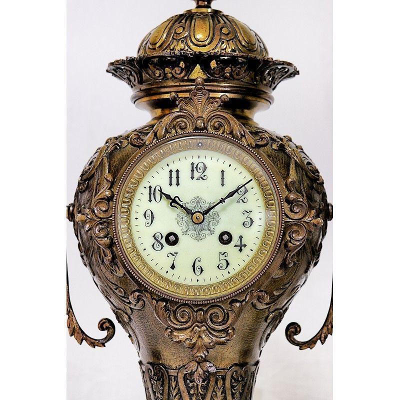Reloj de epoca con sus candelabros en bronce y funcionando - Relojes de sobremesa antiguos ...