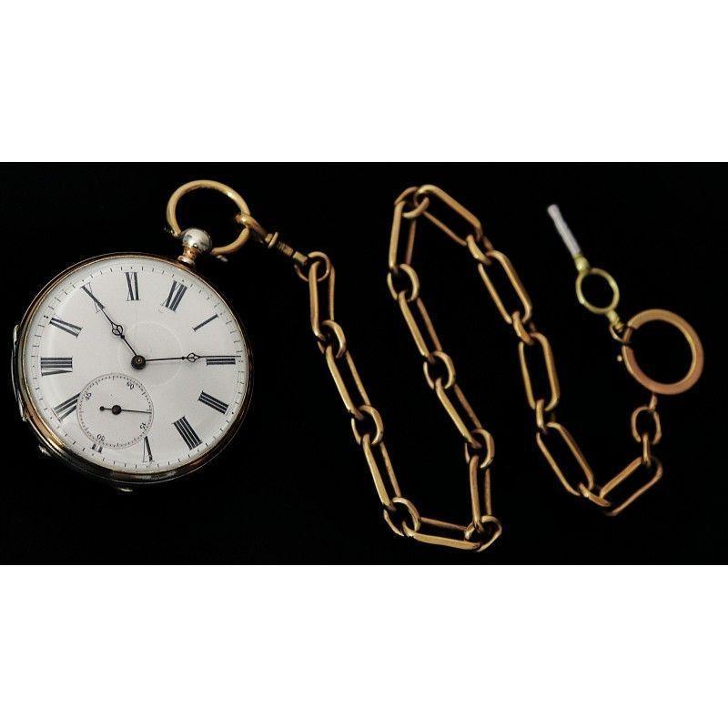 Elegante Reloj De Bolsillo En Plata Maciza Cuerda Con Llave