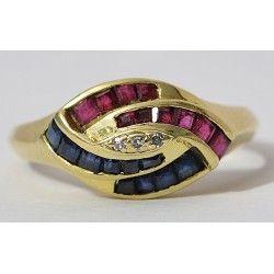 Antiguo anillo de oro de 18 K con diamantes ,rubis y zafiro