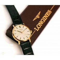 Antiguo reloj de pulsera Longines oro 18 quilates de carga manual en perfecto estado de funcionamiento de los años 1970.