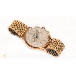 Reloj de pulsera, oro 18k, de origen suizo del fabricante Leuba Louis, cronógrafo de cuerda manual