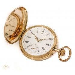 Precioso reloj de bolsillo saboneta, de oro macizo 14K ,en excelente estado de funcionamiento