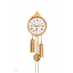 Antiguo reloj de pared, con pesas y péndulo de cuerda manual, es de origen francés, y funcionando.