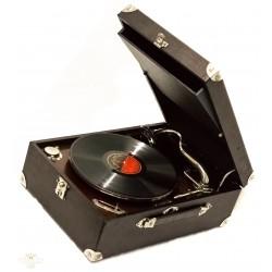 Antiguo gramofono de manivela, en maletin, de origen ingles, y funcionando