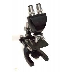 Estupendo microscopio antiguo de la marca Bausch & Lamp, completo con su estuche original, de los años 1950.
