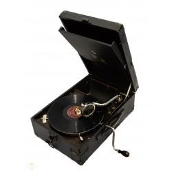Antiguo gramofono de manivela, en maletin, de origen ingles, La voz de su Amo