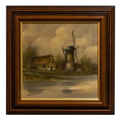 Elegante cuadro de colección, pintado a mano sobre óleo.