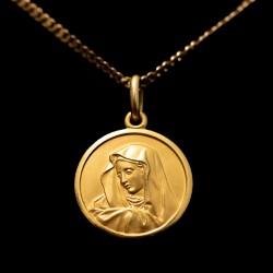 Antigua medalla de oro 18 quilates, con su cadena a juego.