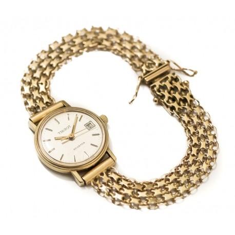 Espectacular reloj de oro para mujer, de cuerda manual de la marca Tissot, funcionando perfectamente.