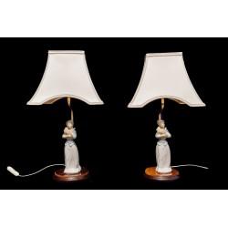 Espectacular pareja de lamparas de porcelanaTengra