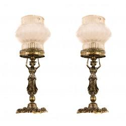 Espectacular pareja de lamparas en bronce, de origen francés