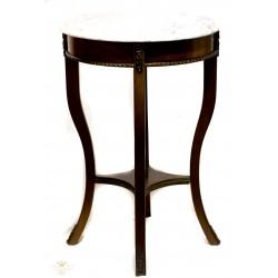 Antigua mesa en caoba, combinada con bronce y mármol blanco.