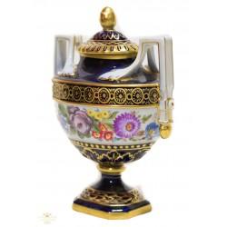 Espectacular jarron antiguo de porcelana pintado a mano de finales del siglo XIX.