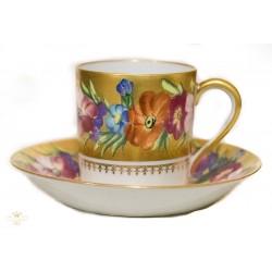 Espectacular taza con su plato de porcelana Limoges original francés.
