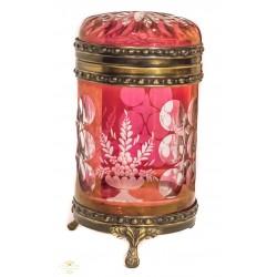 Antiguo joyero de cristal de bohemia tallado a mano