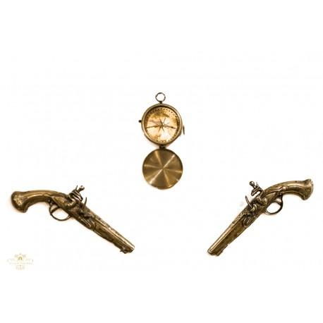 Estupendo juego de pistolas en bronce con brújula a juego