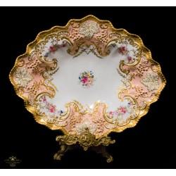 Elegante plato, pintado a mano, de porcelana inglesa Royal Crown