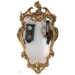 Antiguo espejo de época, biselado y marco en bronce