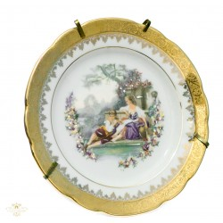 Elegante plato, pintado a mano, de porcelana francesa Limoge