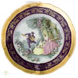 Espectacular juego de platos antiguo de porcelana pintado a mano de origen frances ,Limoge
