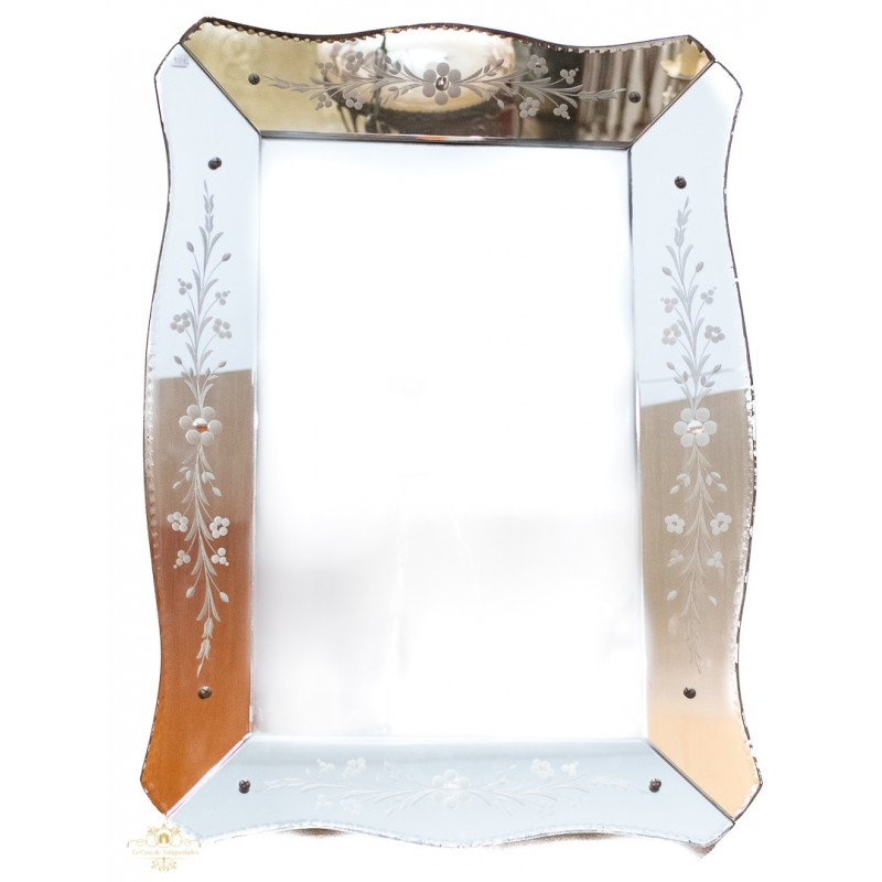 Antiguo espejo veneciano muy decorativo en excelente - Espejo veneciano antiguo ...