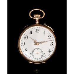 Precioso reloj de bolsillo, de oro macizo 14K de origen frances, circa 1920.