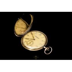 Antiguo reloj de bolsillo saboneta de la marca Levrette, funcionando