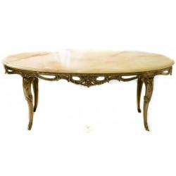Espectacular mesa ovalada en bronce combinado con onix