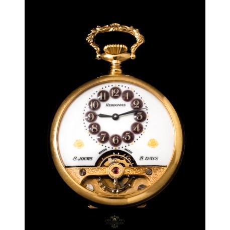 Espectacular antiguo reloj de bolsillo, Hebdomas , de origen suizo de los años 1900 y funcionando