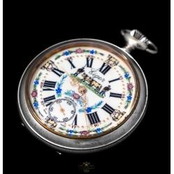 Antiguo reloj de bolsillo, de origen suizo, de la marca Eiger y funcionando.