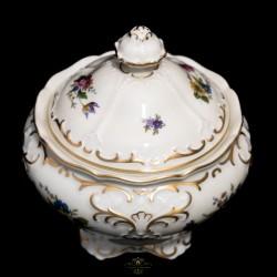 Antiguo cofre joyero de porcelana alemana, pintado a mano