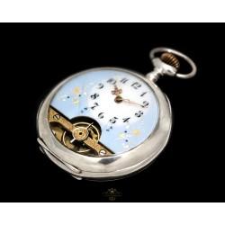 Antiguo reloj plata de bolsillo, Hebdomas , de origen suizo de los años 1900 y funcionando