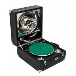 Antiguo gramofono de manivela, en maletin, de origen suizo y funcionando
