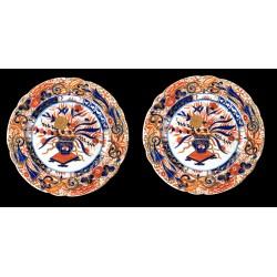 Pareja de platos de porcelana japonesa antigua,IMARI