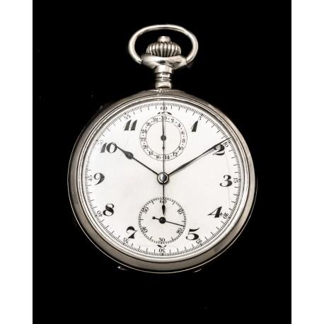 Antiguo reloj de bolsillo y cronografo de origen suizo de los años 1900 y funcionando.