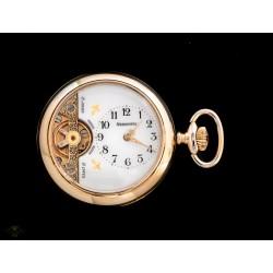 Bellísimo reloj de bolsillo Hebdomas en metal con baño de oro y funcionando.