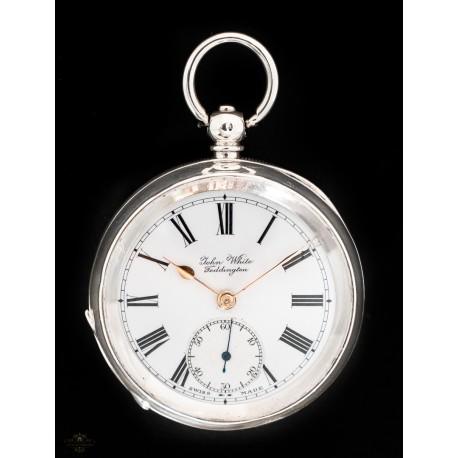 Antiguo reloj de bolsillo en plata maciza de origen suizo: John White Teddington circa 1880.