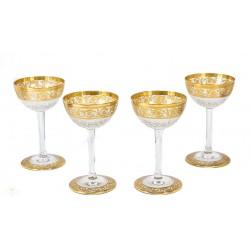Magnificas copas de cristal tallado de origen francés Saint Louis modelo Callot de los años 1925.