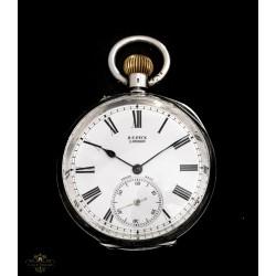 Antiguo reloj de bolsillo en plata maciza de origen suizo circa 1880.