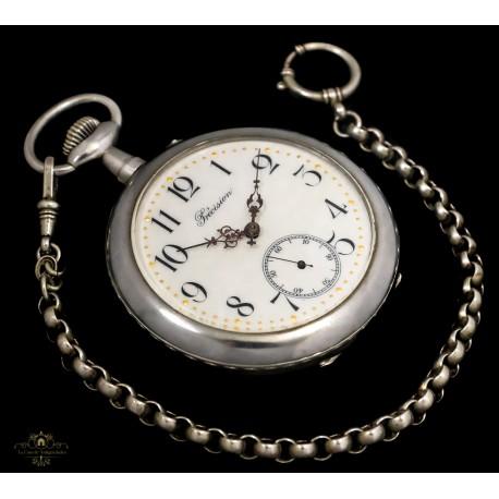 Grandísimo y antiguo reloj de bolsillo de cuerda manual de los años 1900 y funcionando.