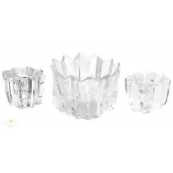 Precioso cuenco en cristal tallado, con porta velas a juego de la marca Orrefors