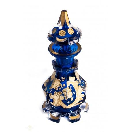 Magnifica botella de origen francés, en cristal azul, de finales del siglo XIX