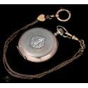 Magnífico reloj de bolsillo funcionando de los años 1900,con su cadena a juego.