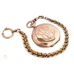 Precioso reloj de bolsillo saboneta, de oro macizo 14K ,en buen estado de funcionamiento